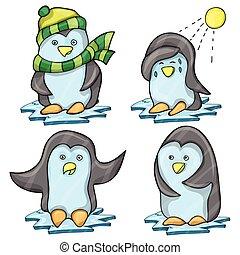 pinguino, pose, parecchi