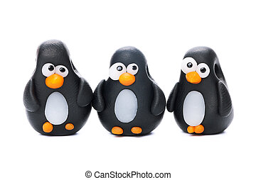 Pinguins made of polymer clay