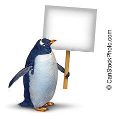 pingvin, birtok, aláír