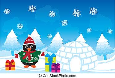 pingvin, karácsony, vektor