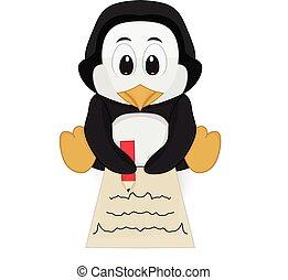 pingvin, positur, skrift