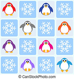 pingviner, och, snöflingor