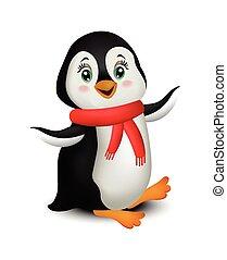 pingwin, rysunek, wektor, odizolowany, na białym