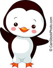 pingwin, zabawa, zoo.