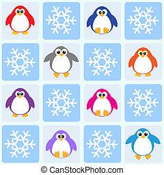 pingwiny, i, płatki śniegu