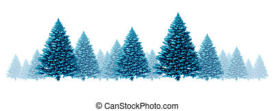 pinho, fundo, azul, inverno