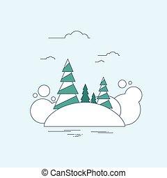 pinho, fundo, paisagem, neve, natal, inverno, floresta