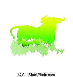 pinho, /, silueta, vetorial, cores, touro, floresta, branca, dentro, logotipo, luminoso, /animal, símbolo, ilustração, parque, experiência.