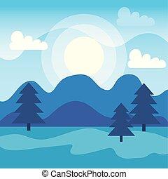 pinhos, montanhas, nuvens, árvores, sol