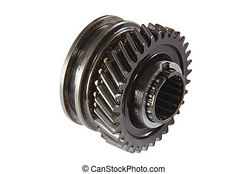 Pinion gear synchronizer gearbox car, isolated, on a white background, with clipping path