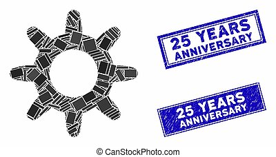 Pinion Mosaic and Distress Rectangle 25 Years Anniversary Watermarks