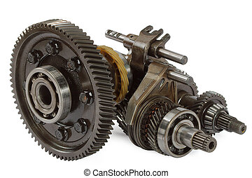 Pinions and differential from gearbox, isolated on white...