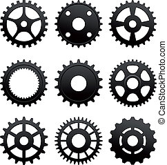 Pinions and gears set isolated on white background for...