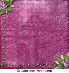 Pink abstract background with floral beautiful bouquet and beads