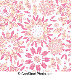 Pink abstract flowers seamless pattern background - vector...