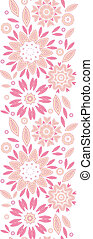 Pink abstract flowers vertical seamless pattern background