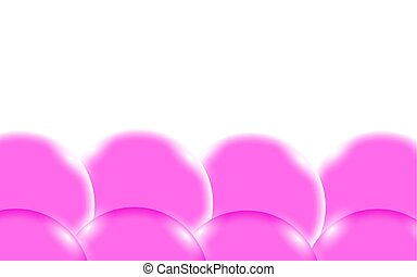 Pink abstract shiny beautiful and convex smooth three-dimensional simple balls, bubbles, eggs circles with glare of light located from the bottom on a white background and space for a simple text. Vector illustration.