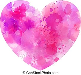 Pink abstract watercolor heart
