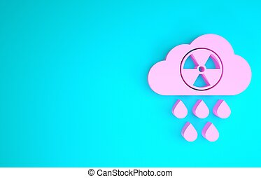 Pink Acid rain and radioactive cloud icon isolated on blue background. Effects of toxic air pollution on the environment. Minimalism concept. 3d illustration 3D render