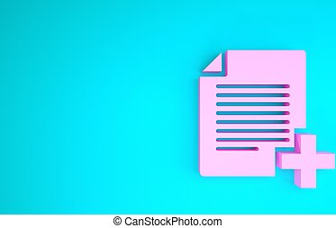 Pink Add new file icon isolated on blue background. Copy document icon. Minimalism concept. 3d illustration 3D render