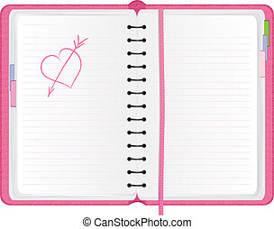 Pink agenda with hand drawn heart, vector illustration