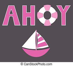 Pink Ahoy Sailboat