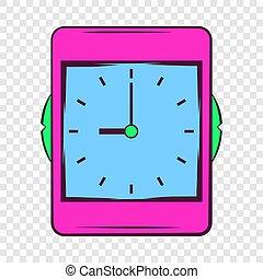 Pink alarm clock icon in cartoon style