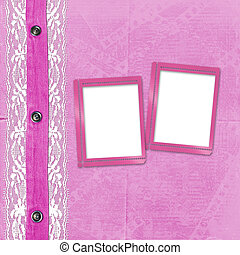 Pink album for photos with jeans and lace