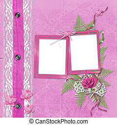 Pink album for photos with jeans, lace and orchid