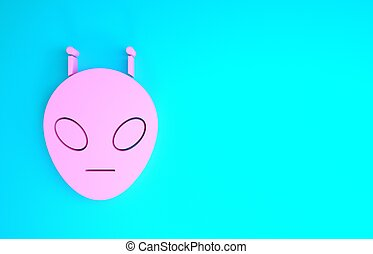 Pink Alien icon isolated on blue background. Extraterrestrial alien face or head symbol. Minimalism concept. 3d illustration 3D render