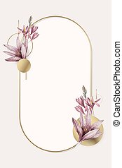 Pink amaryllis pattern with gold frame vector