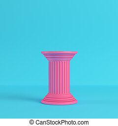 Pink ancient pillar on bright blue background in pastel colors