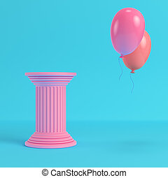 Pink ancient pillar with two flying balloons on bright blue background in pastel colors