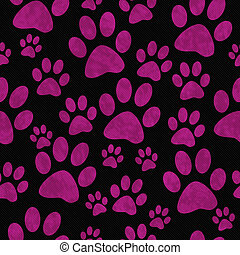 Pink and Black Dog Paw Prints Tile Pattern Repeat Background...
