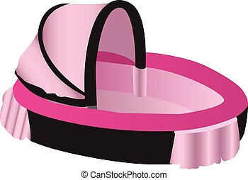 Pink and black illustration of a baby crib
