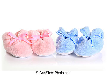 baby booties - Pink and blue baby booties.