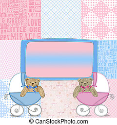 Pink and blue baby design - Baby buggy with teddy bears on...