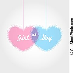 Pink and blue baby shower in form hearts