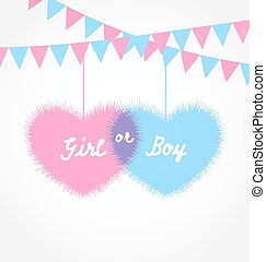 Illustration pink and blue baby shower in form hearts with hanging pennants - vector