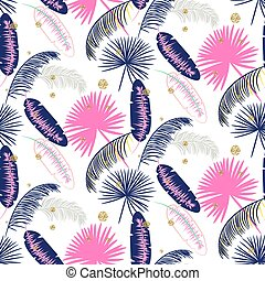 Pink and blue banana palm leaves seamless vector pattern.