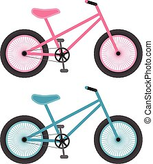 Pink And Blue Bicycles For Kids Isolated On A White...