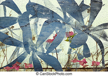 Pink and blue bougainvillea abstract background