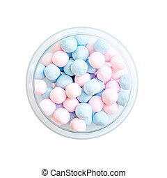 pink and blue candies on a  white background