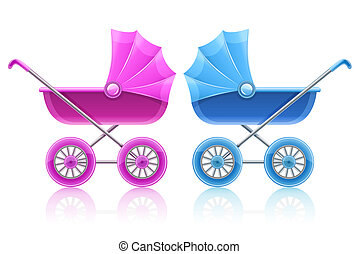 carriages for baby transportation - pink and blue carriages...