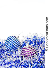 pink and blue christmas balls with decoration isolated on white