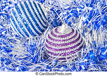 pink and blue christmas balls with decoration