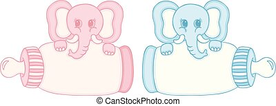 Pink and blue elephant with baby milk bottle
