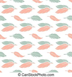 Pink and blue feather seamless pattern