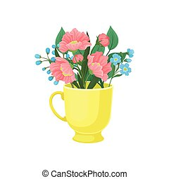 Pink and blue flowers in a mug. Vector illustration on white background.