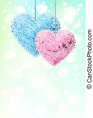 Pink and blue fluffy hearts pair on light shining background